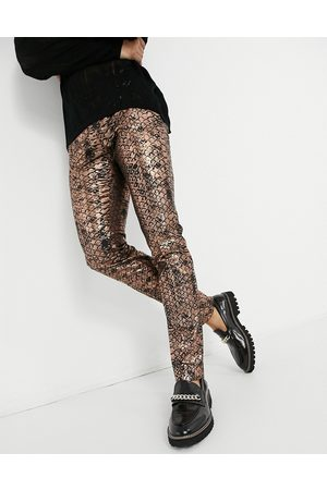 Twisted Tailor Suit trousers in copper scale print