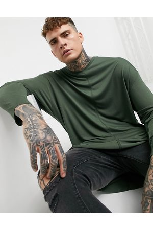 ASOS Oversized long sleeve viscose t-shirt with v-neck in