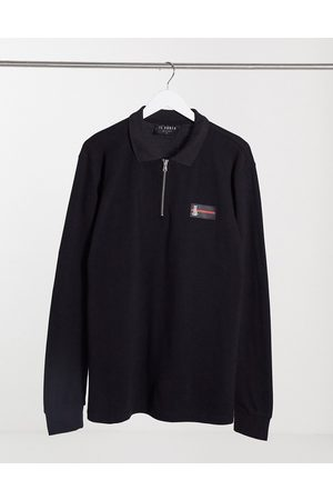 Il Sarto Luxe badge long sleeve polo in