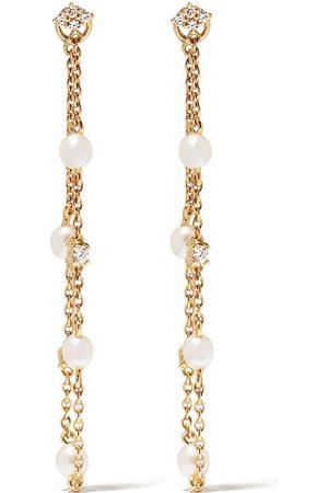 Yoko London 18kt yellow diamond pearl Trend drop earrings