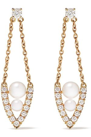 Yoko London 18kt yellow diamond pearl Sleek earrings