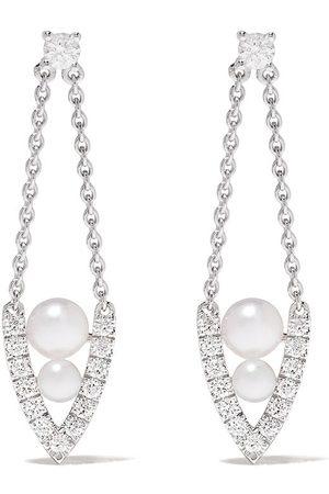 Yoko London 18kt white gold diamond pearl Sleek earrings