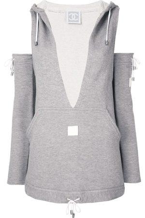 CHANEL Logo-patch deconstructed sweatshirt