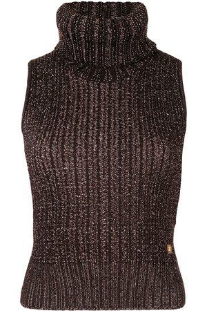 CHANEL 2001 chunky-knit roll-neck vest