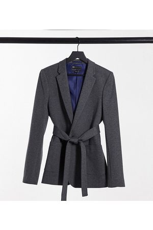 ASOS Tall belted super skinny jersey blazer in charcoal