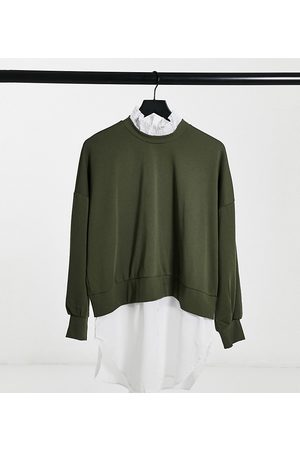 Noisy May Sweater with shirt trims in khaki