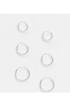 ASOS Sterling pack of 3 small hoops