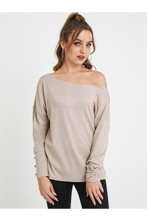 YOINS Pink Button Design One Shoulder Long Sleeves Tee