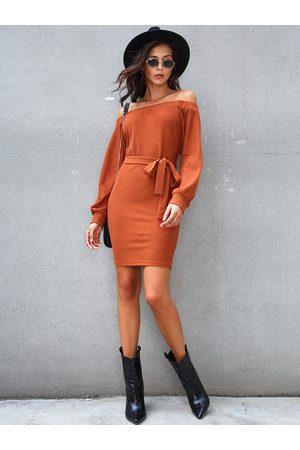 YOINS Off Shoulder Belt Design Knit Dress