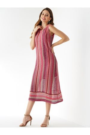 YOINS Rose Stripe Round Neck Sleeveless Dress