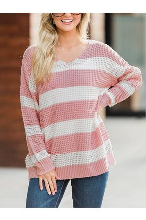 YOINS Stripe V-neck Long Sleeves Knit Top