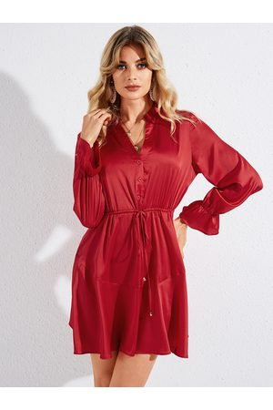 YOINS Red Belted Front Button Ruffle Trim V-neck Long Sleeves Dress