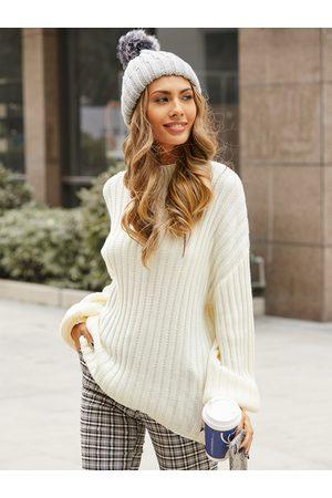 YOINS White Turtleneck Long Sleeves Sweater