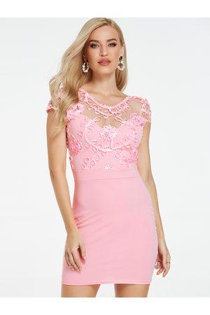 YOINS Mesh Embroidered Round Neck Dress