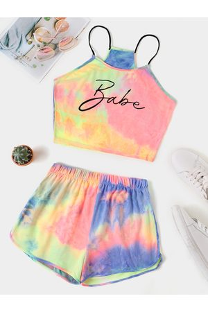 YOINS Tie Dye Letter Cami And Sporty Shorts Suit