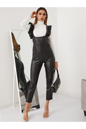 YOINS Black Ruffle Trim Leather Jumpsuit