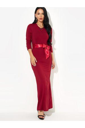 YOINS Round Neck Button Design Self-tie Waist Evening Maxi Dress