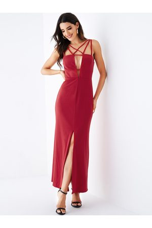 YOINS Backless Design Deep V Neck Sleeveless Dress