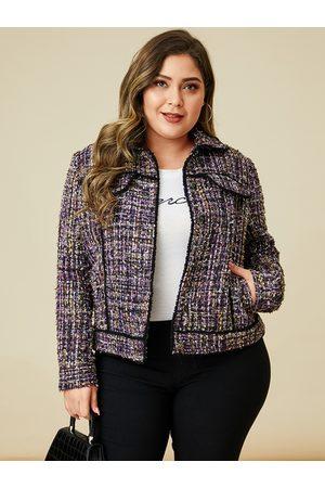 YOINS Plus Size Purple Plaid Classic Collar Jacket