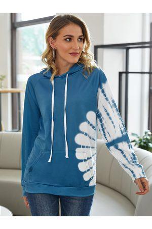 YOINS Tie Dye Pocket Design Pullover Long Sleeves Hoodie