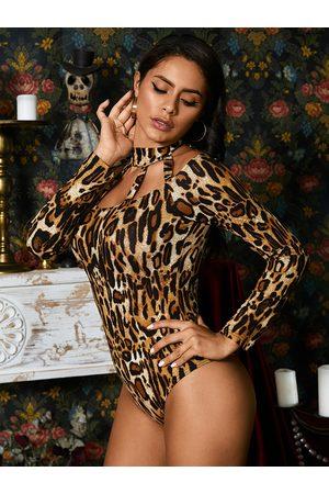 YOINS Brown Leopard Choker Neck Long Sleeves Bodysuit