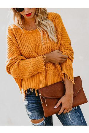 YOINS Deep V-neck Long Sleeves Tassel Design Sweater