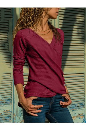 YOINS Crossed Front V-neck Long Sleeves Tee