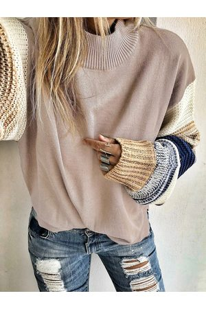 YOINS Pink Color Block Round Neck Long Sleeves Sweater