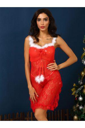 YOINS Christmas Red Bowknot Lace Hem Lingerie Set