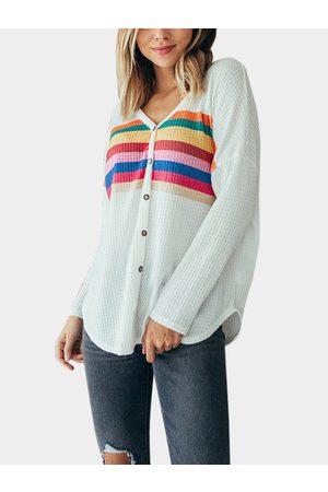 YOINS V-neck Long Sleeves Button Design T-shirt
