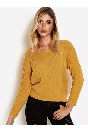 YOINS Plain Round Neck Knot Details Long Sleeves Sweaters