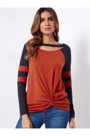 YOINS Stripe Round Neck Cutout Design Long Sleeves Twist Front T-shirts