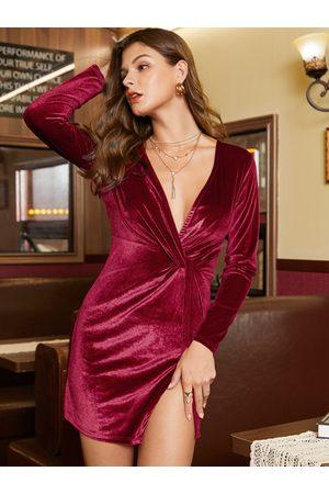YOINS Burgundy Slit Design Deep V Neck Long Sleeves Dress