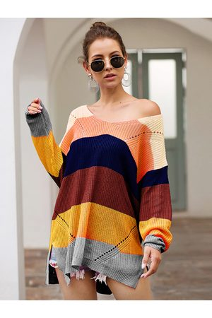YOINS Multi Color Stripe Slit Hem One Shoulder Jumper
