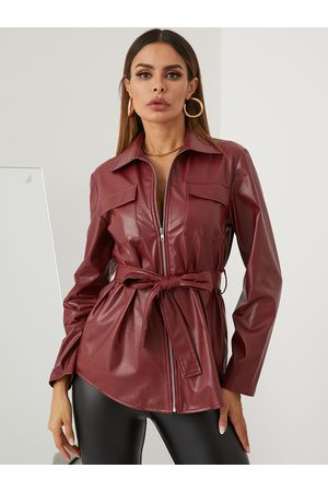 YOINS Zip Front Belt Design Long Sleeves Leather Jacket