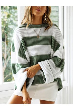 YOINS Color Block Stripe Round Neck Long Sleeves Sweater