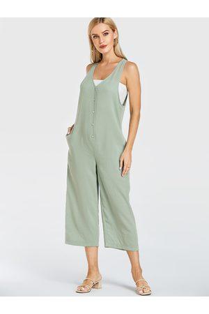 YOINS Mint V-neck Front Button Wide Leg Jumpsuit