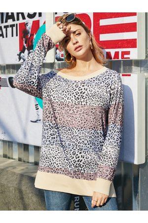 YOINS Grey Leopard One Shoulder Long Sleeves Tee