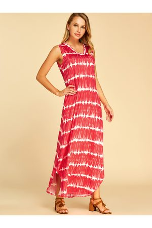 YOINS Stripe Pattern Side Pockets V-neck Sleeveless Dress