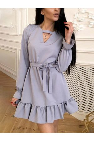YOINS Belted Tie-up Design Ruffle Trim V-neck Long Sleeves Dress