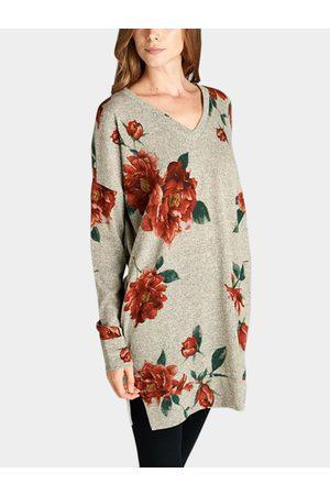 YOINS Random Floral Print V-neck Long Sleeves Slit Hem Tee With Slip Pockets