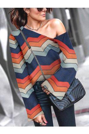 YOINS Color Block Stripe One Shoulder Long Sleeves Tee