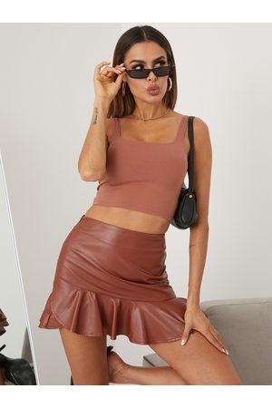 YOINS Ruffle Hem Leather Mini Skirt