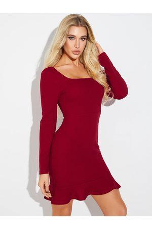 YOINS Burgundy Ruffle Trim Square Neck Long Sleeves Dress
