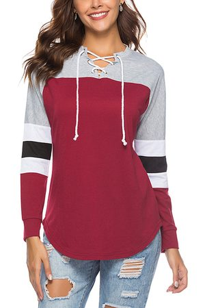 YOINS CHRISTMAS SALE Lace-up Design Color Block Round Neck Long Sleeves Tee