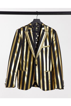 Twisted Tailor Suit jacket in black and stripe