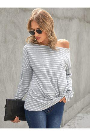 YOINS Grey Striped Round Neck Long Sleeves Tee