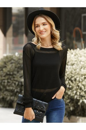YOINS See Through Design Round Neck Long Sleeves Knit Top