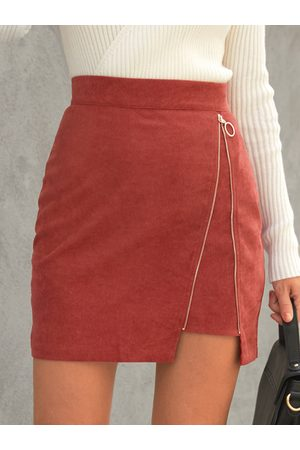YOINS Corduroy Zip Front Mini Skirt