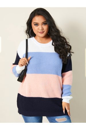 YOINS Plus Size Crew Neck Patchwork Long Sleeves Sweater